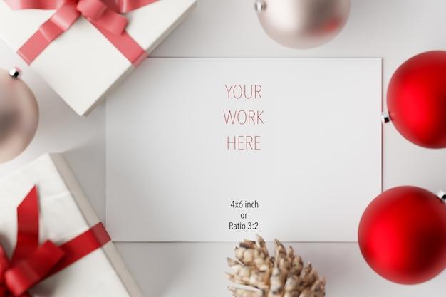 Макет рождественской открытки с украшением