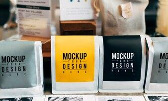 Mockup of coffee bean packaging