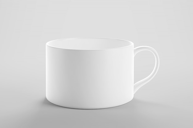 깨끗 한 스튜디오 장면에서 커피 또는 차 컵 이랑 프리미엄 PSD 파일