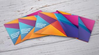 Mockup of colorful brochures