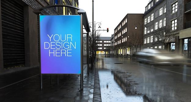 市のバス停での商業ポスターのモックアップ