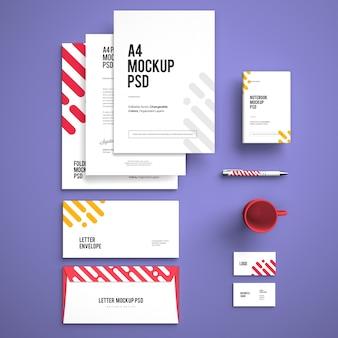 Мокап корпоративного стационарного брендингового дизайна со сменными цветами