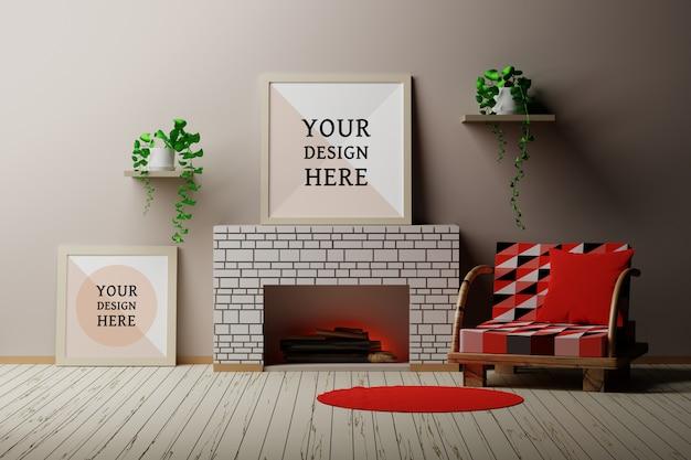 フレーム、木の丸太、椅子、植物が付いている暖炉のあるカントリーハウスルームインテリアのモックアップ