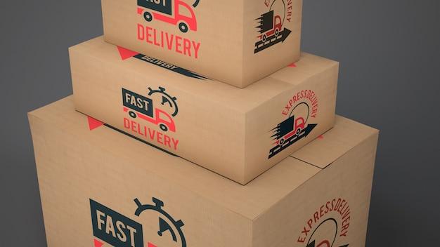 異なるサイズの配送ボックスの模擬 無料 Psd