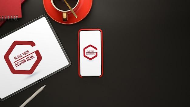 스마트 폰 및 태블릿이있는 디지털 장치 모형