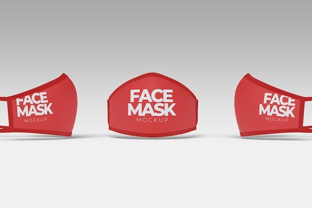 Макет маски для лица в разных ракурсах