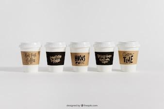 Mockup of five coffee cups