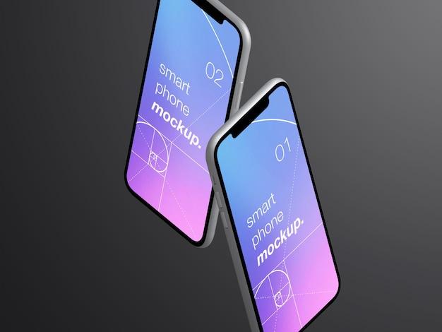 孤立した等尺性のスマートフォンアプリ画面をフローティングのモックアップ