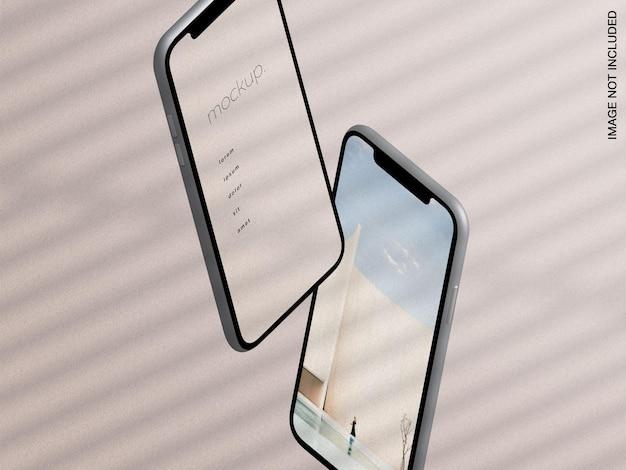 떠 다니는 스마트 폰 장치 앱 화면의 모형