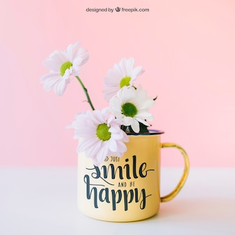 Mockup of flowers in cup