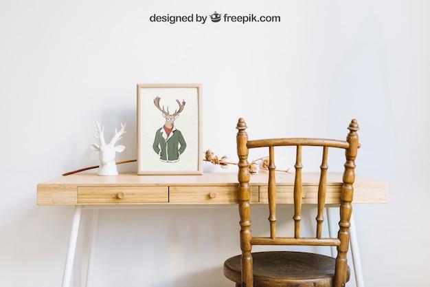 의자와 책상에 프레임의 모형