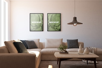 Mockup of frames in living room
