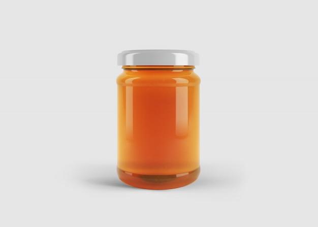 깨끗한 스튜디오 장면에서 사용자 정의 모양 레이블이있는 꿀 항아리의 모형 프리미엄 PSD 파일
