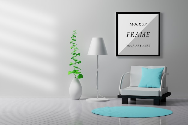 空白の正方形のフレームの椅子、ランプ、花瓶、植物に座って屋内室内のモックアップ