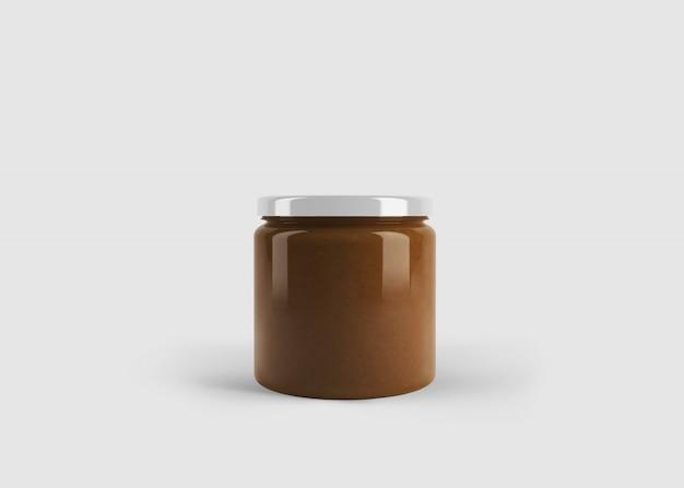 깨끗한 스튜디오 장면에서 사용자 정의 모양 레이블이있는 잼 또는 소스 병의 모형