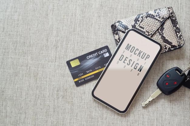 휴대 전화 및 쇼핑 온라인 결제 개념의 모형