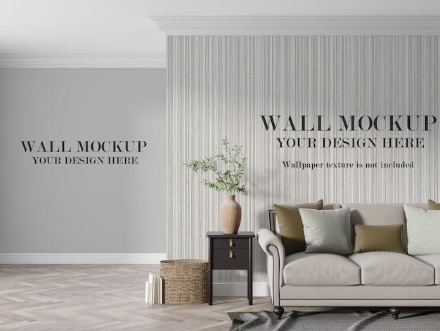 家具付きのモダンな居間の壁のモックアップ