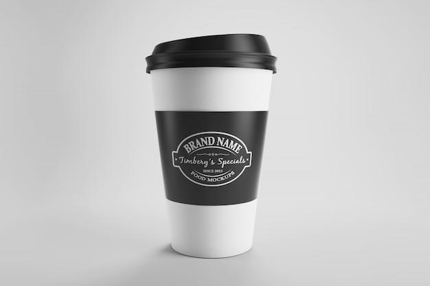 전면보기 스튜디오 현장에서 종이 레이블이있는 종이 커피 컵 이랑