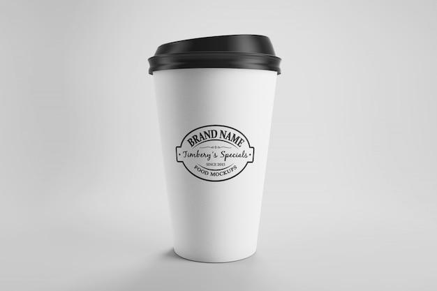 모자와 종이 에코 커피 컵의 이랑