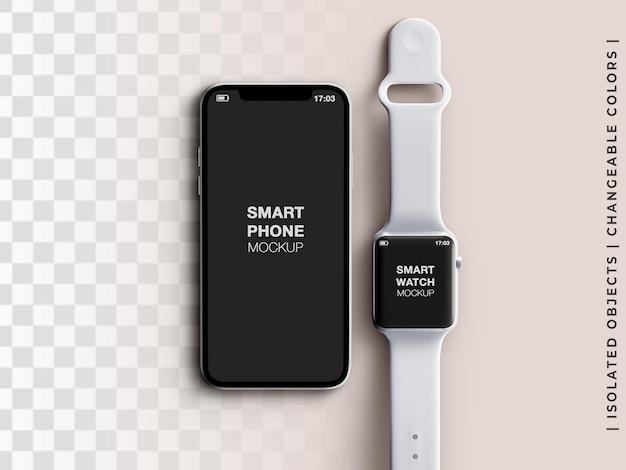 携帯電話のモックアップとスマートウォッチアプリの画面デバイスインターフェイスのプレゼンテーションフラットは分離されました