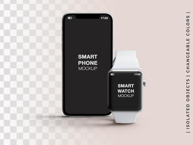 격리된 전화 및 스마트 시계 앱 화면 장치 인터페이스 프레젠테이션 전면 보기의 모형
