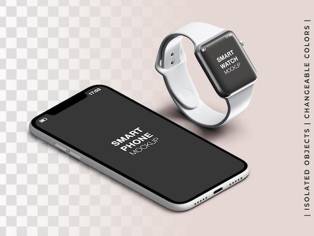 分離された電話とスマートウォッチアプリの画面デバイスインターフェイスプレゼンテーションアイソメビューのモックアップ