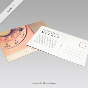 Mockup of postcard with a retro phone
