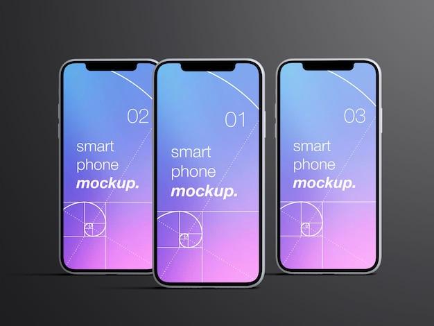 Мокап реалистичных изолированных экранов приложений для смартфонов с видом спереди