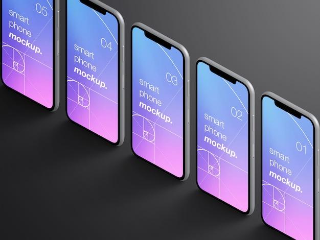 Макет реалистичных изолированных изометрических экранов приложений для смартфонов