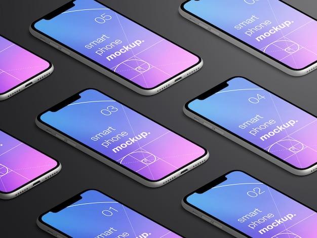 現実的な孤立した等尺性のスマートフォンアプリ画面のモックアップ