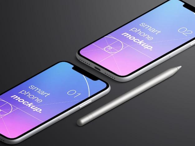 現実的な等尺性のスマートフォンアプリのモックアップ画面スタイラスペンシルでのモックアップ