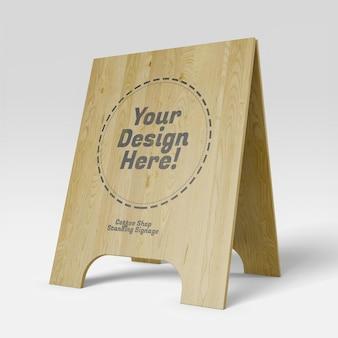 リアルな木製スタンドオープンディスプレイカフェ看板のモックアップ