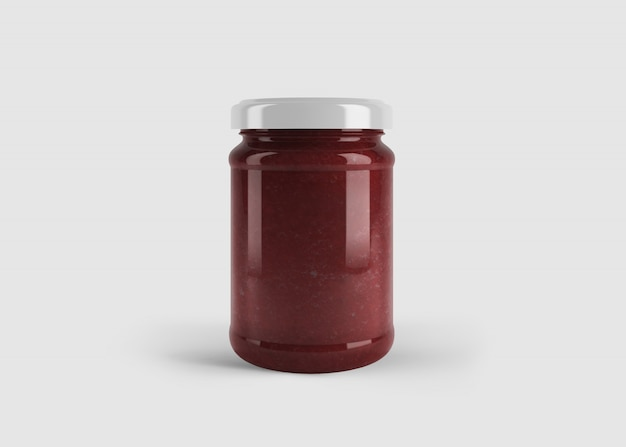깨끗한 스튜디오 장면에서 사용자 정의 모양 레이블이있는 빨간 잼 또는 소스 항아리 모형