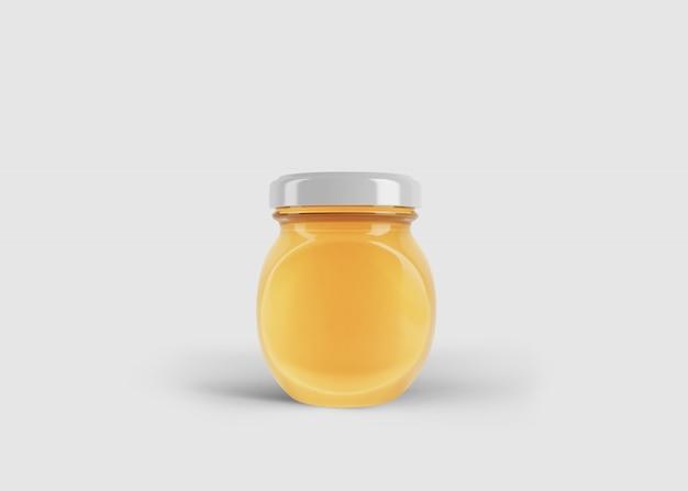 깨끗한 스튜디오 장면에서 사용자 정의 레이블이있는 둥근 꿀 항아리의 모형