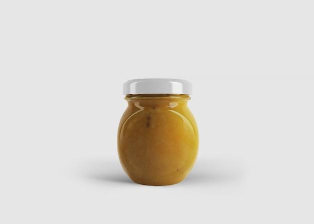깨끗한 스튜디오 장면에서 사용자 정의 레이블이있는 둥근 잼 또는 소스 병의 모형