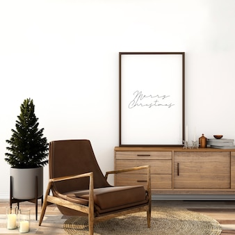 スカンジナビアのリビングルームのインテリアデザインのモックアップとクリスマスツリー