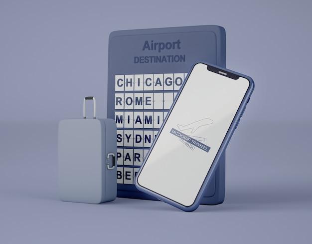 画面スマートフォンのモックアップ。夏の旅行や旅行のコンセプトです。