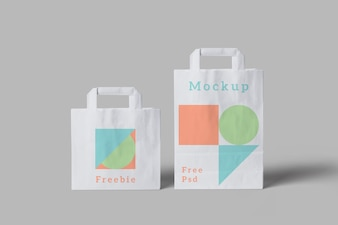 Mockup of shopping bags of different sizes