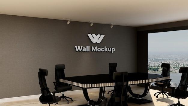 エレガントでクラシックなビジネス屋内ワークスペースのシルバーオフィスロゴのモックアップ