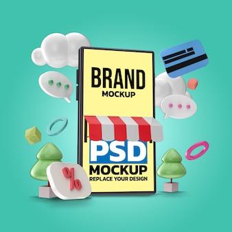 온라인 쇼핑을위한 스마트 폰 모형