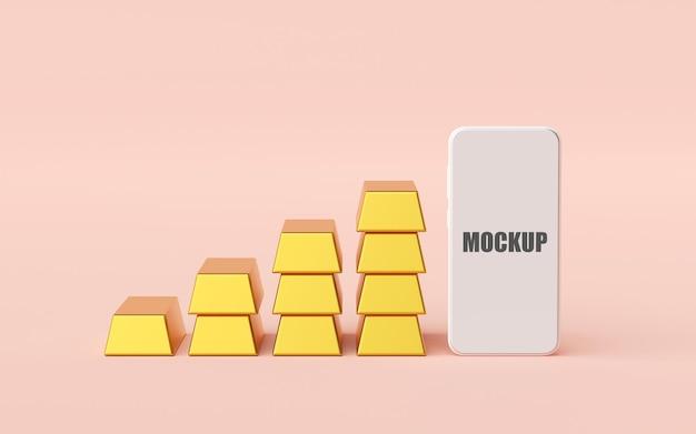 Макет смартфона со стопкой золотых слитков 3d-рендеринга