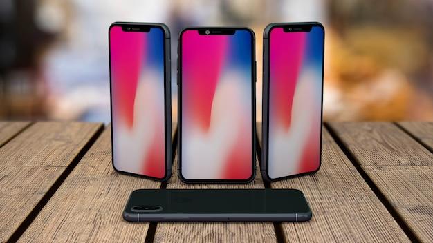 テーブルトップ上のスマートフォンのモックアップ 無料 Psd