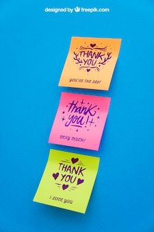 Mockup of sticky notes on blue background