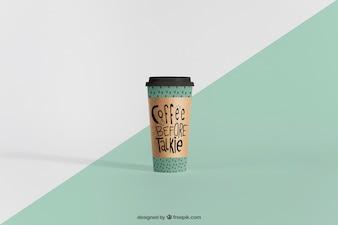 Mockup of tall coffee cup