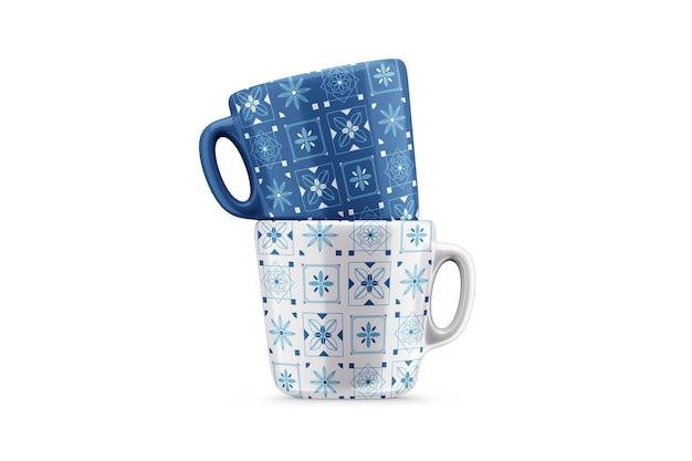 Мокап двух 3d фарфоровых чашек кофе или чая