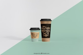 Mockup of two coffee cups of different sizes
