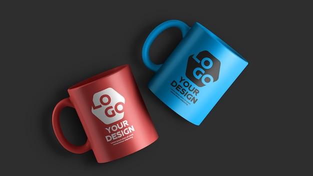 2色セラミックコーヒーマグのモックアップ