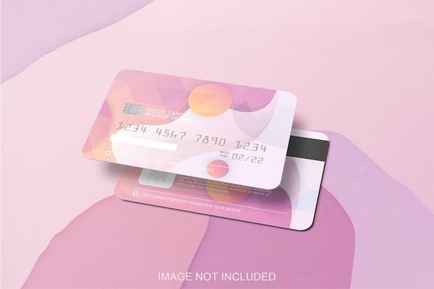 分離された2つのクレジットカードのモックアップ