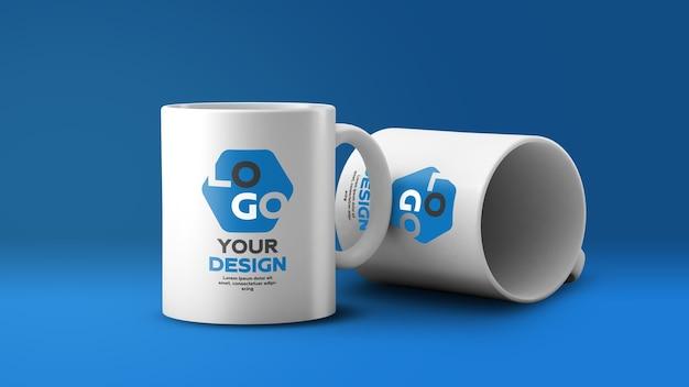 화이트 세라믹 커피 잔 2 개 모형