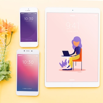 Mockup of various devices with creativity or workspace concept